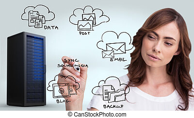 Composite image of concentrated businesswoman holding...