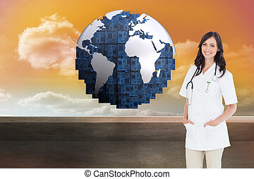 Composite image of confident female doctor standing in front of the window while smiling
