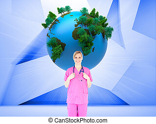 Composite image of confident young female surgeon holding a stethoscope against a white background