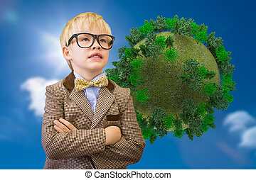 Composite image of cute pupil dressed up as teacher