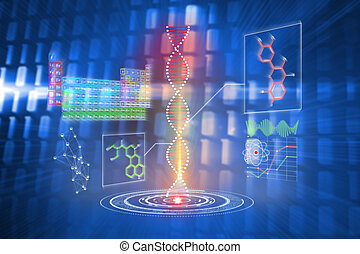 Composite image of dna helix interface