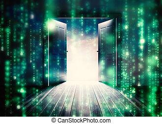 Composite image of doors opening to reveal beautiful sky -...