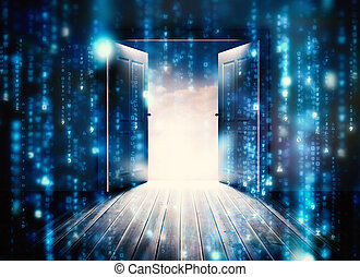 Composite image of doors opening to reveal beautiful sky -...