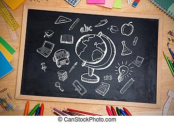 Composite image of education doodles