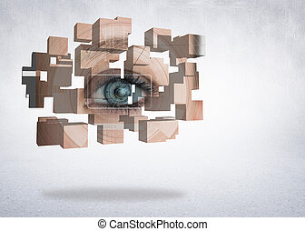 Composite image of eye analysis on abstract screen