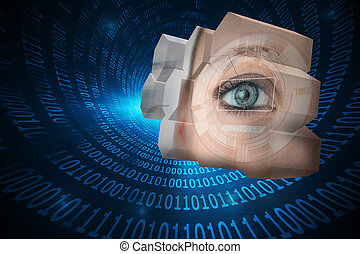 Composite image of eye interface on abstract screen