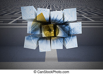 Composite image of eye on abstract screen