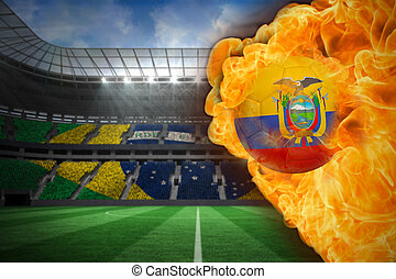 Composite image of fire surrounding ecuador flag football
