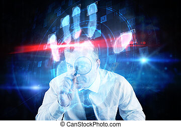 Composite image of focused businessman with magnifying glasses
