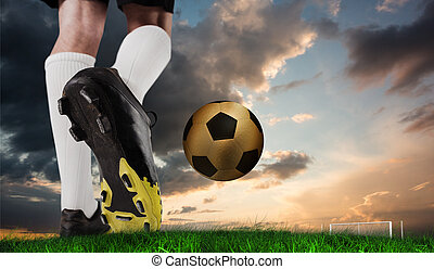 Composite image of football boot kicking gold ball against...
