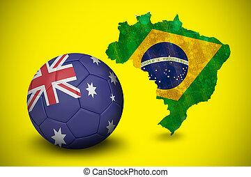 Composite image of football in australia colours
