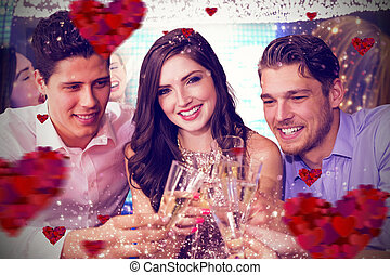 Composite image of friends toasting with champagne - Friends...