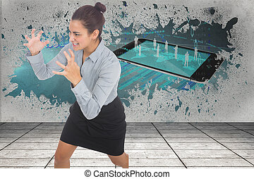 Composite image of furious business - Furious businesswoman...
