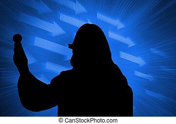 Composite image of futuristic blue arrows
