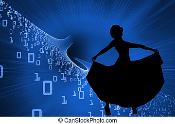 Composite image of futuristic blue design with code