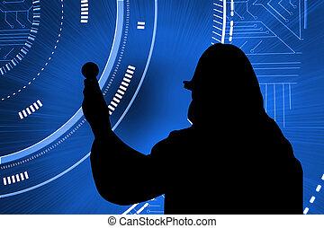 Composite image of futuristic blue interface