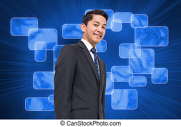 Composite image of futuristic blue screens