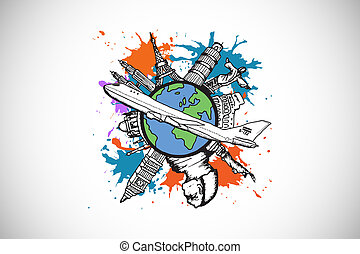 Composite image of global tourism concept on paint splashes