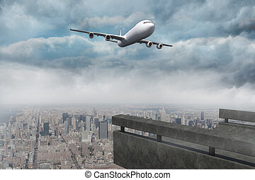 Composite image of gloomy city
