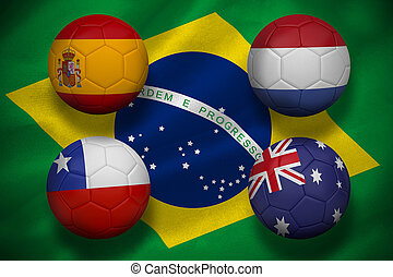 Composite image of group b footballs for world cup