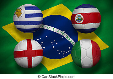 Composite image of group d footballs for world cup