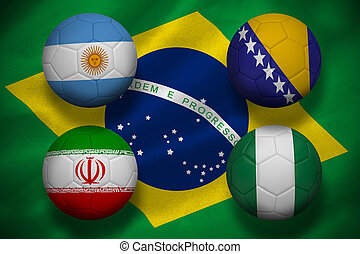 Composite image of group f footballs for world cup