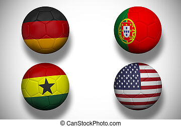 Composite image of group g footballs for world cup