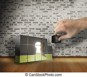 Composite image of hand building wall - Hand building wall ...