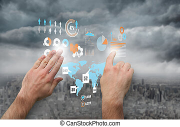 Composite image of hands pointing and presenting