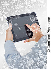 Composite image of hands using digital tablet