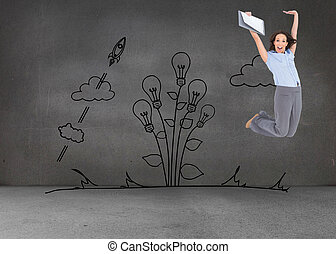 Composite image of happy classy businesswoman jumping while...