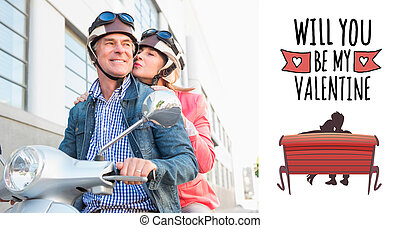 Composite image of happy senior couple riding a moped -...