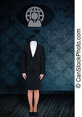 Composite image of headless businesswoman with doodle