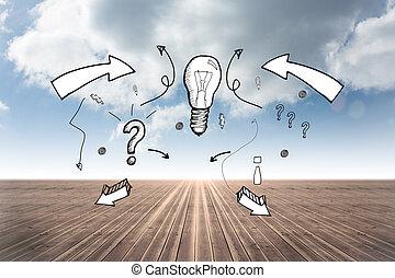 Composite image of idea doodle with arrows - Idea doodle...