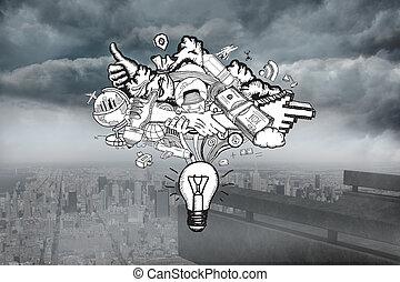 Composite image of ideas doodle