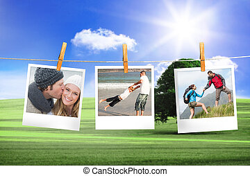 Composite image of instant photos - Composite image of...