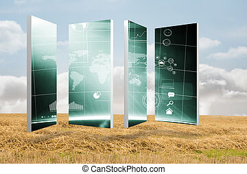 Composite image of interface on abstract screen