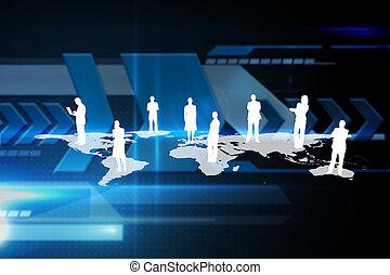 International community against arrows on technical background