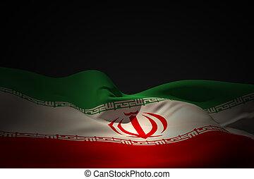 Composite image of iran flag waving