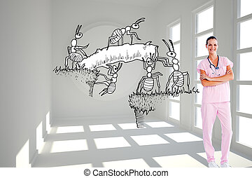 Composite image of isolated beautiful nurse standing in front of the camera with folded arms