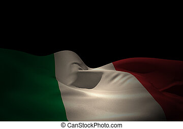 Composite image of italy flag waving