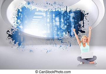 Composite image of joyful woman wit - Joyful woman with a ...