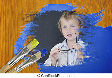 Composite image of little boy at school
