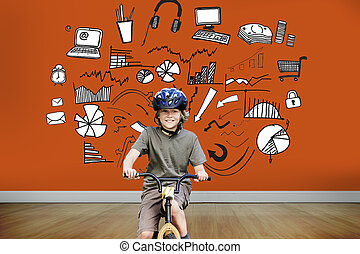Composite image of little boy with his bike in a park -...