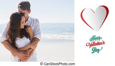 Composite image of loving couple cuddling - Loving couple...
