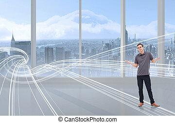 Composite image of man shrugging his shoulders