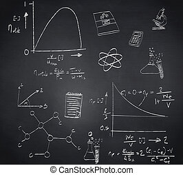 Composite image of math and science doodles against...