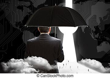 Composite image of mature businessman holding an umbrella - ...
