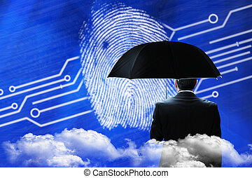 Mature businessman holding an umbrella against fingerprint on digital blue background