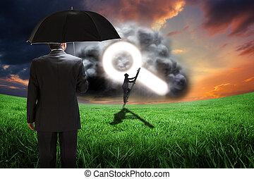Composite image of mature businessman holding an umbrella -...